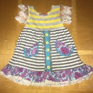 👧🏼 Jelly the Pug Sunshine Grey Striped Dress